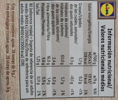 Tostas integrales de centeno - Informations nutritionnelles - de