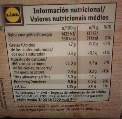 Tastino - Informação nutricional - en
