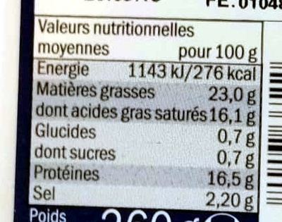 Feta Käse - Informations nutritionnelles - fr