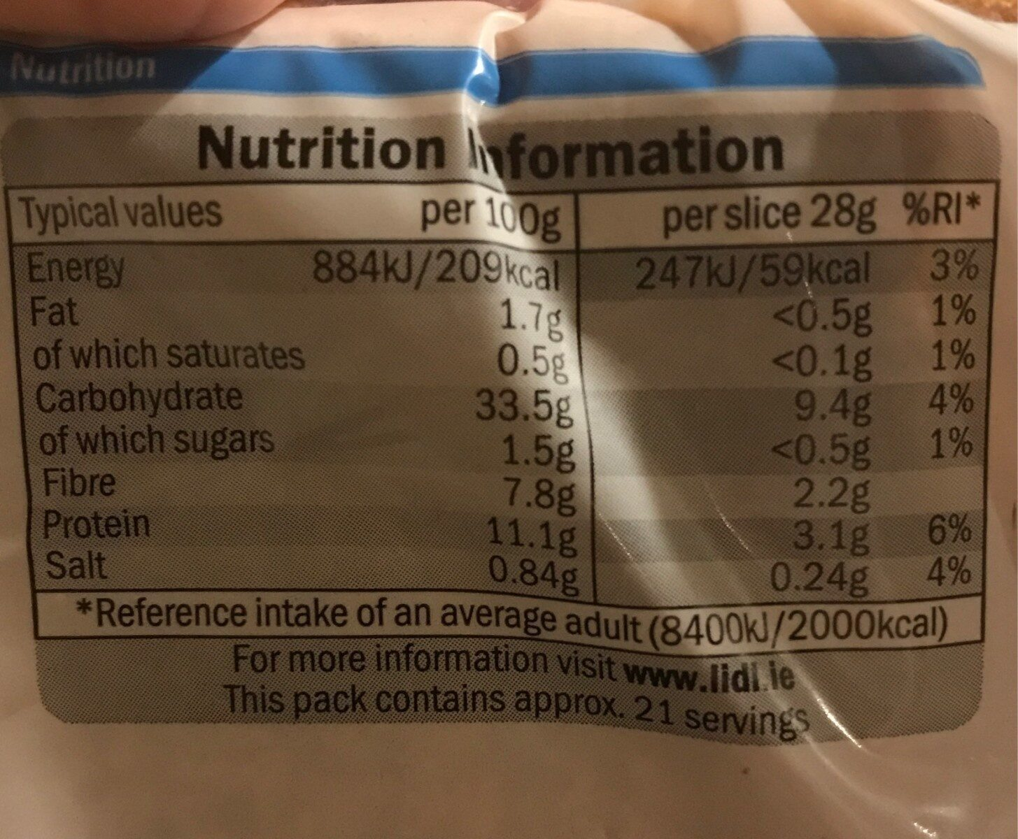 Thine Brown sliced wholemeal bread - Nutrition facts - en