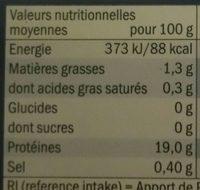 Wildlachsfilet ohne Haut - Nährwertangaben
