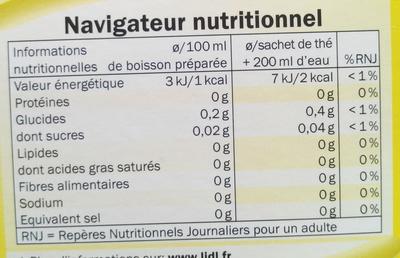 Thé au citron - Informations nutritionnelles