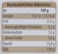 Bierwurst - Nutrition facts