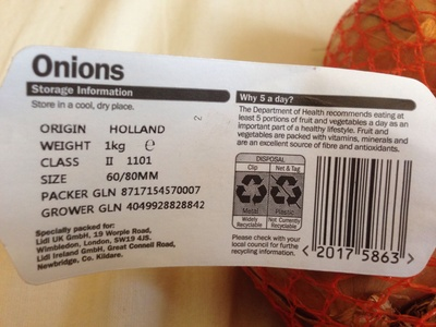 Oaklands Yello Onions - Nutrition facts