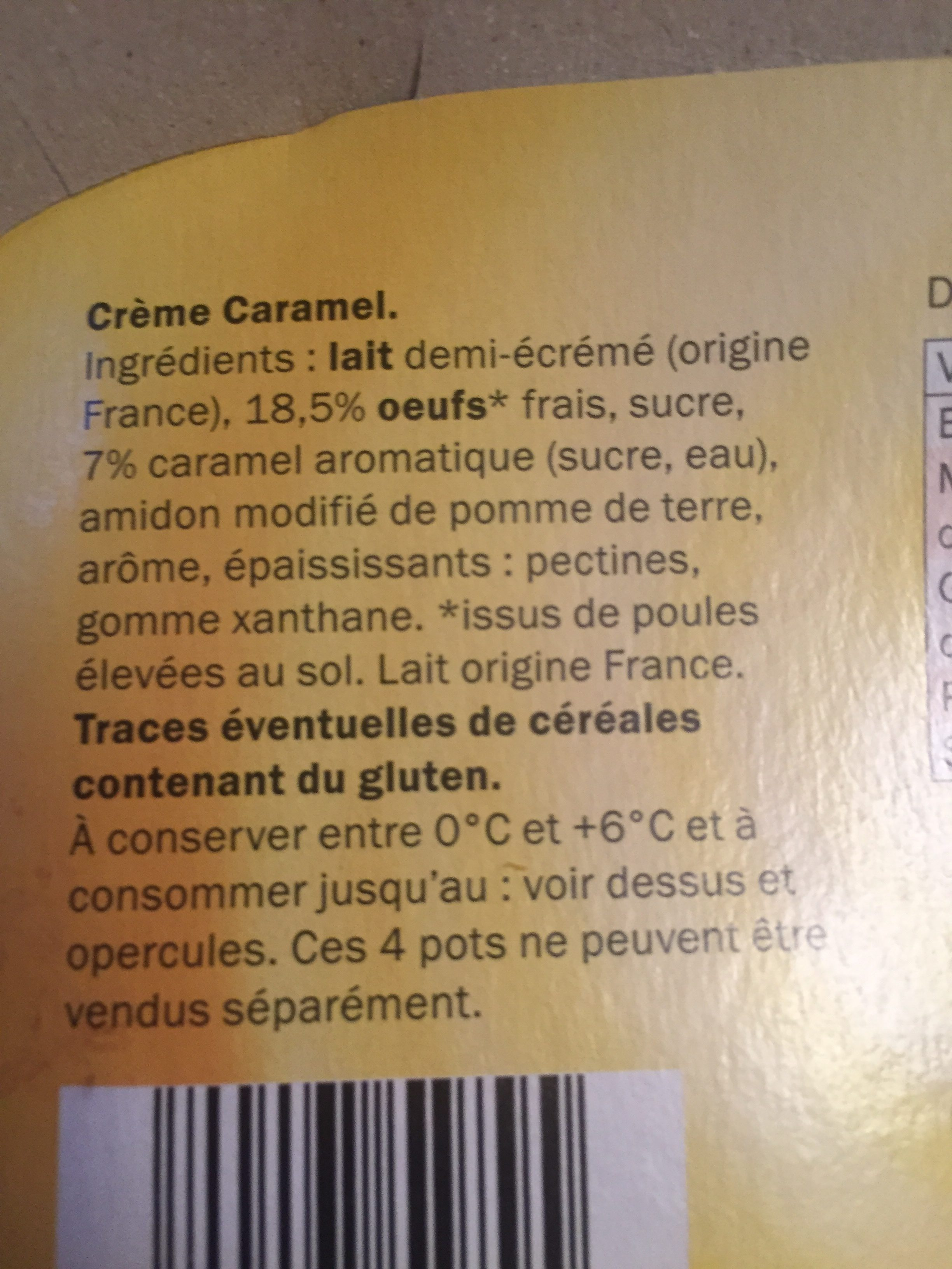 Crème Caramel, Karamell - Ingrédients - fr