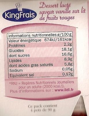 Panna cotta Frutas del Bosque - Nutrition facts
