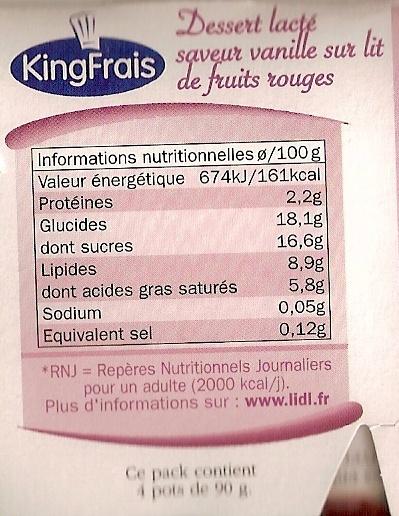 Panna cotta frutas del Bosque - Voedingswaarden - fr