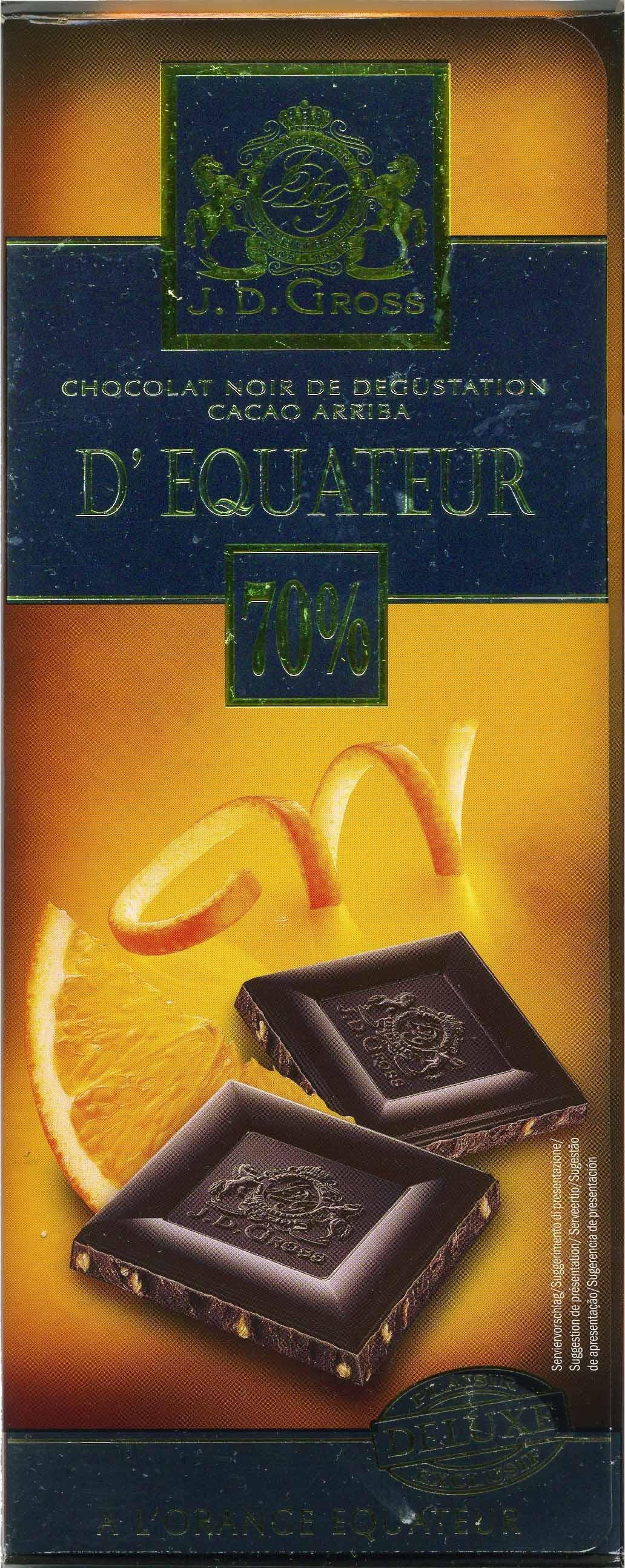Edel-Bitter-Schokolade mit Orangenstückchen Ecuador 70% Kakao - Producte