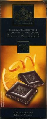 Edel-Bitter-Schokolade mit Orangenstückchen Ecuador 70% Kakao - Producto