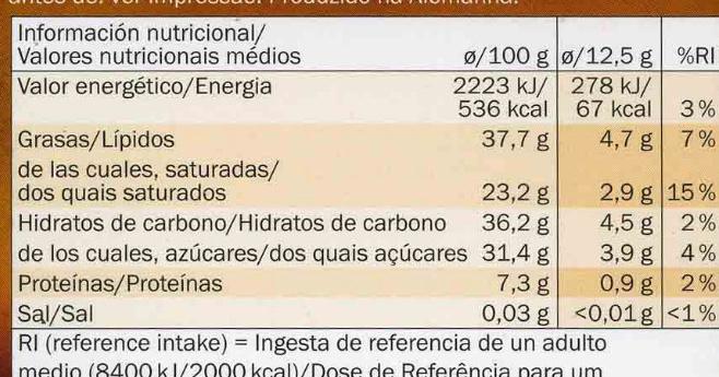 Noir dégustation à l'Orange équateur - Nutrition facts - fr