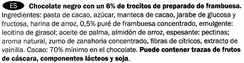 Chocolat dégustation à la framboise cacao Equateur 70% - Ingredientes
