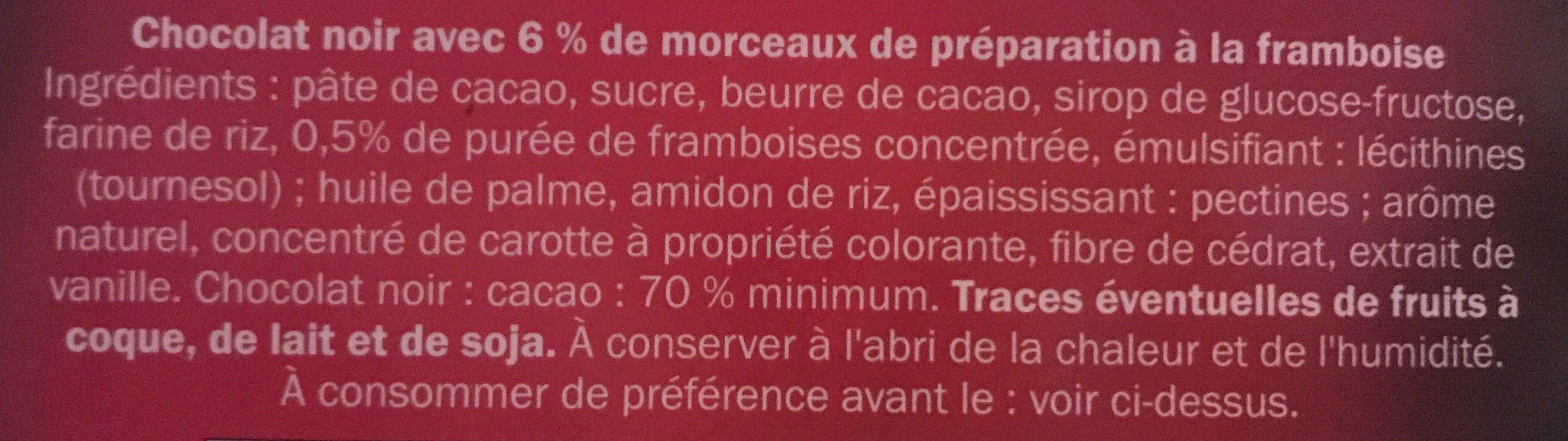 Chocolat dégustation à la framboise cacao Equateur 70% - Ingredients - fr