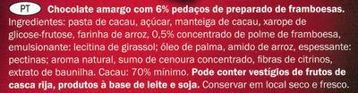 Chocolat dégustation à la framboise cacao Equateur 70% - Ingredients