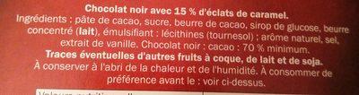 Éclats de caramel 70% cacao - Chocolat noir - Ingredients - fr