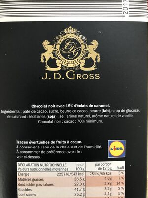 Éclats de caramel 70% cacao - Chocolat noir - Ingredients