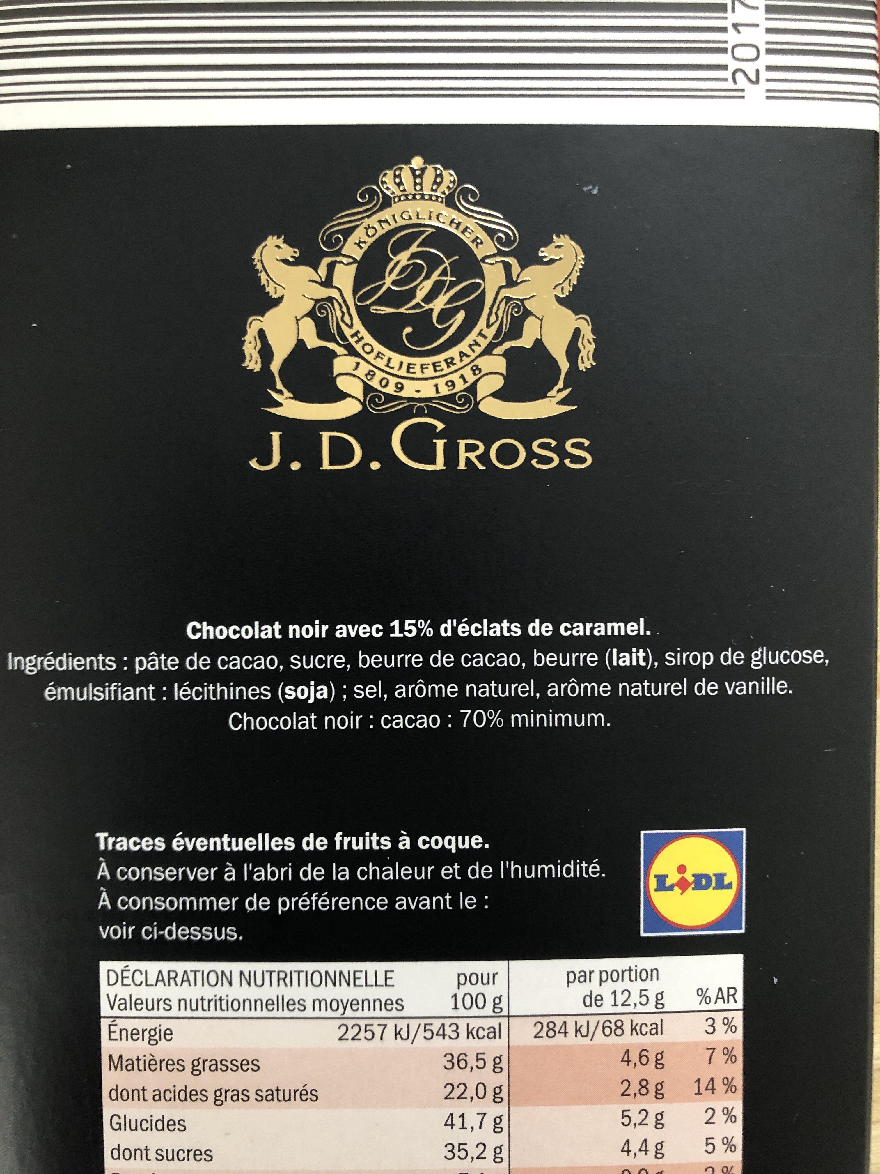 Éclats de caramel 70% cacao - Chocolat noir - Ingredienti - fr