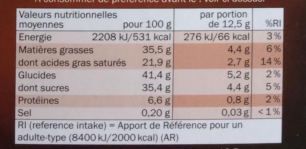 Éclats de caramel 70% cacao - Chocolat noir - Nutrition facts - fr