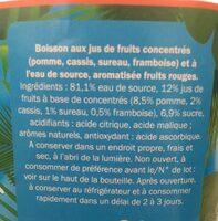 Boisson Pomme Cassis Framboise - Ingrediënten