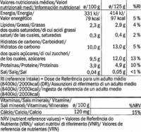 Postre de soja natural - Información nutricional - es