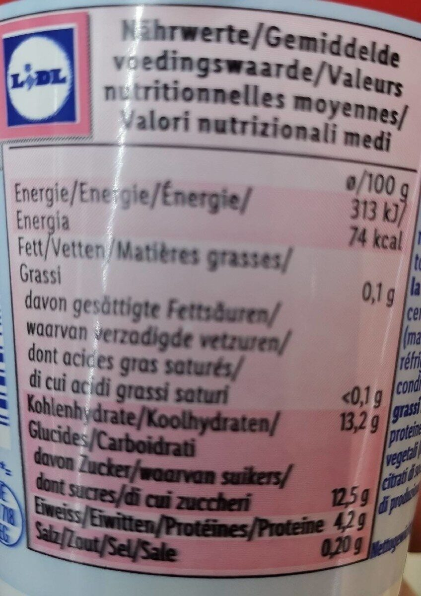 0% linea frutas cereza - Valori nutrizionali - fr