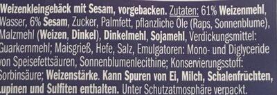 Bagels Sesam - Ingrédients