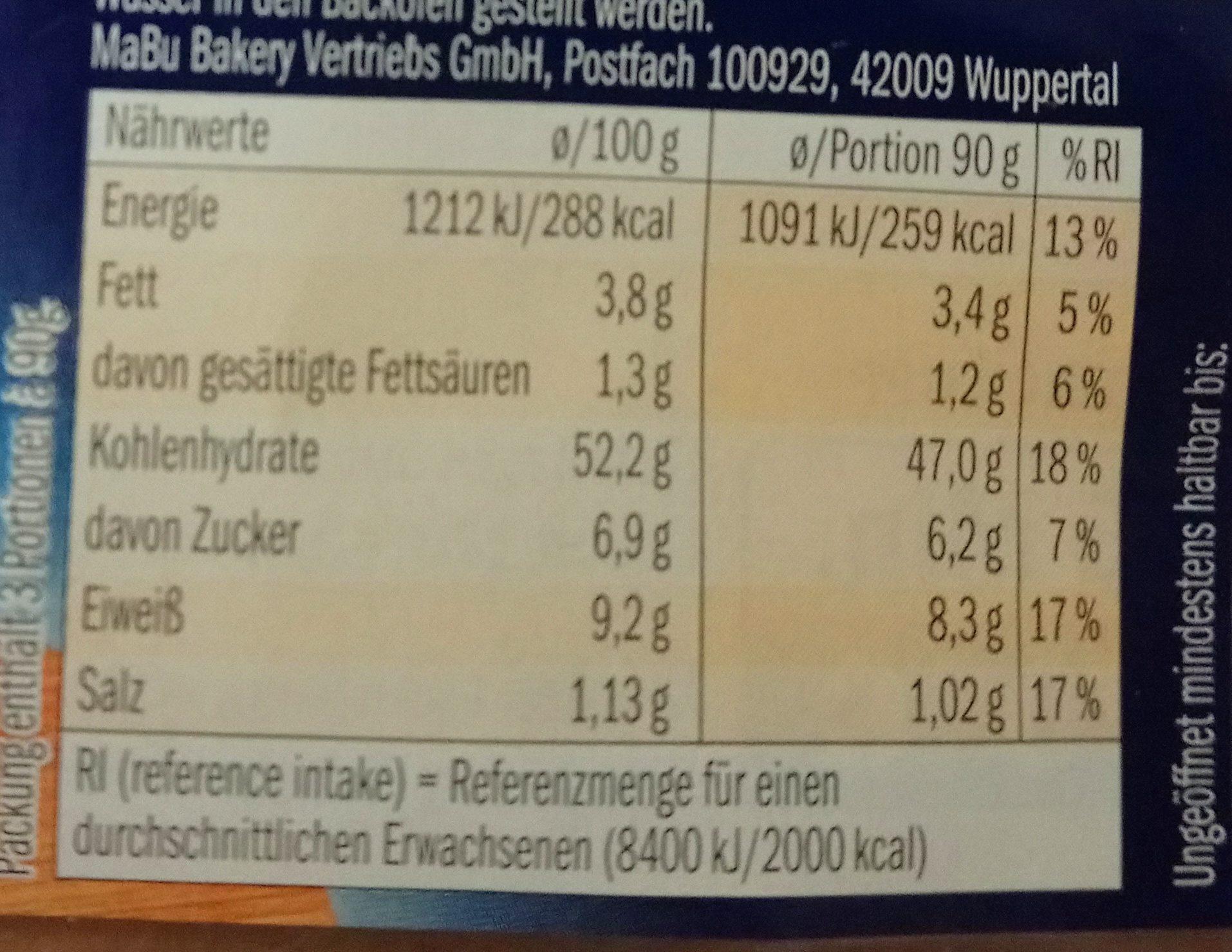 Bagels Sesam - Informations nutritionnelles