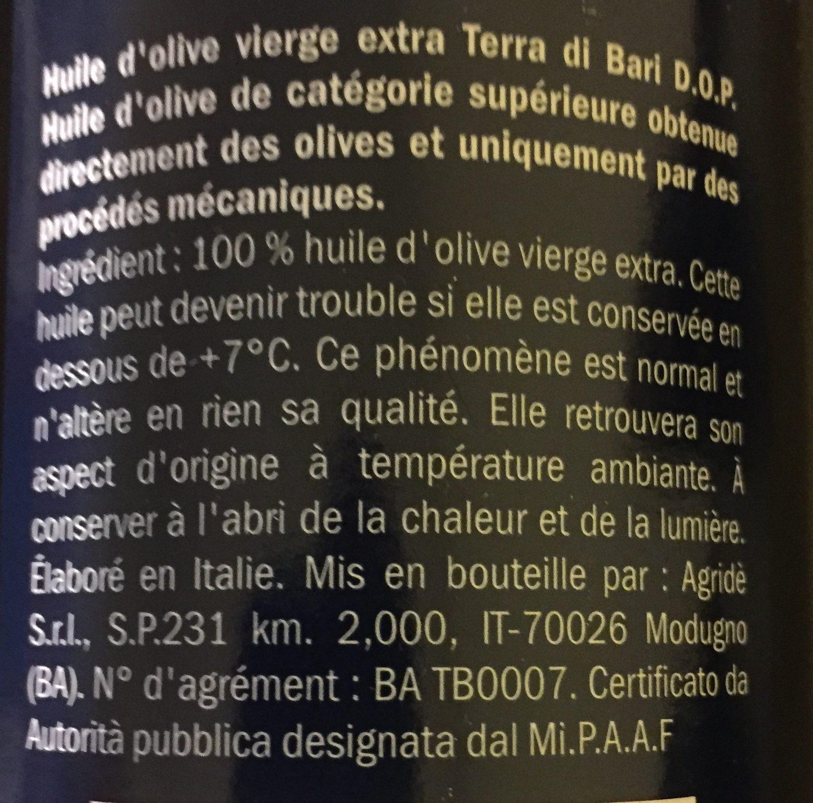 Huile d'Olive extra vierge - Ingrédients - fr