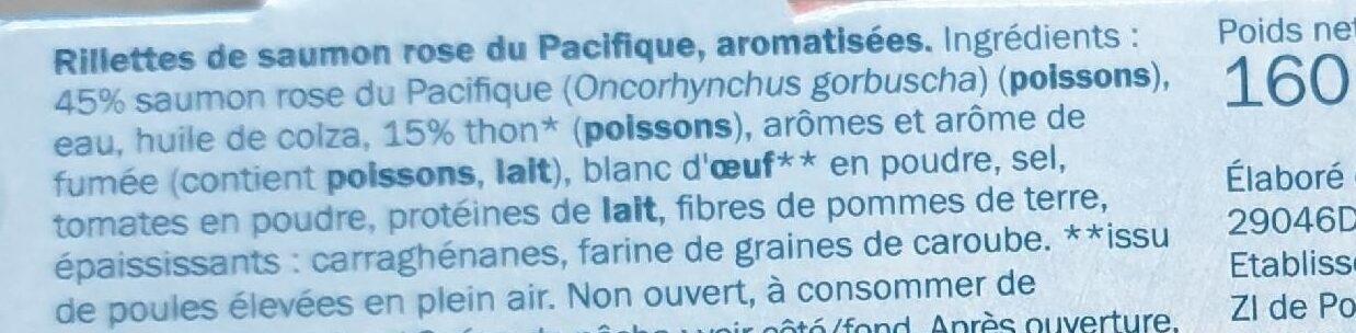 Rillettes de saumon rose du Pacifique, aromatisées - Ingredienti - fr
