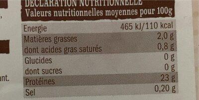 Emince de dinde - Nutrition facts - en