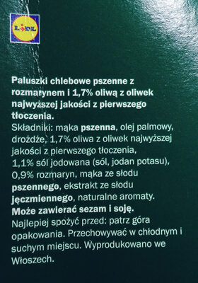 Grissini Rosmarino - Składniki - pl