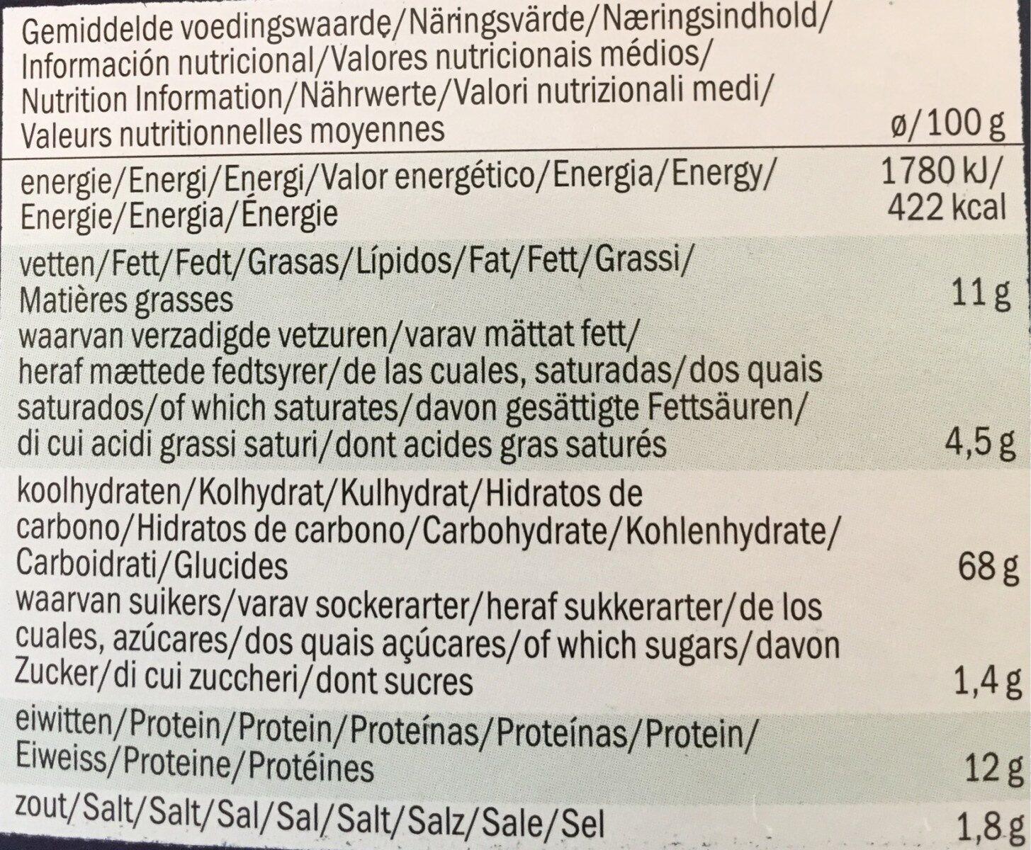 Grissini Rosmarino - Informations nutritionnelles - fr