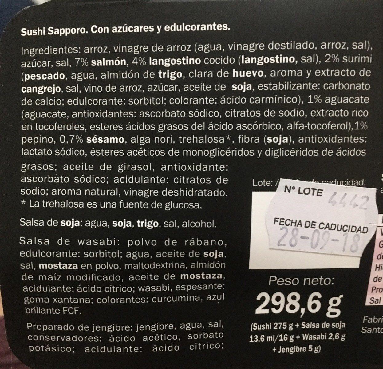Sushi Sapporo - Ingredientes