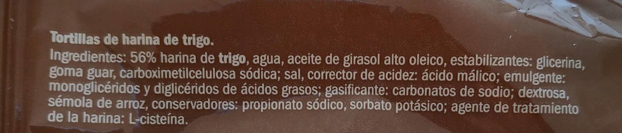 Tortillas de trigo - Ingredients