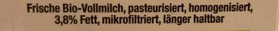 Frische Bio Vollmilch - Ingrédients - de