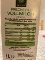 Frische Bio Vollmilch - Nutrition facts - de