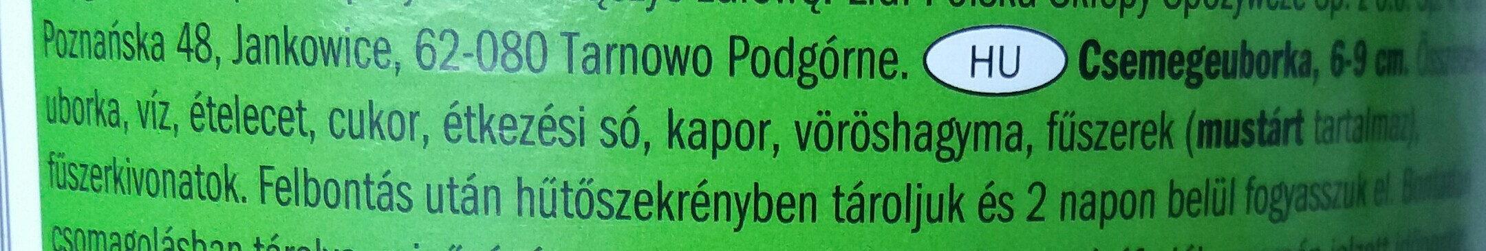 Gewürzgurken - Ingrédients - hu