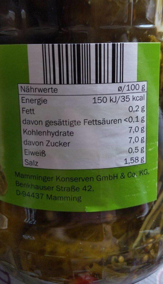 Gewürzgurken - Informations nutritionnelles - hu