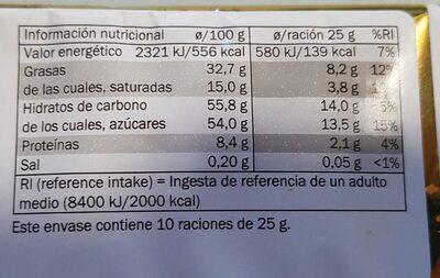 Turrón de chocolate - Información nutricional - es