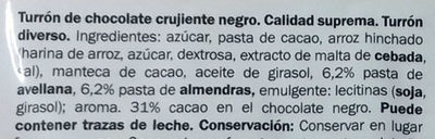 Turrón de Chocolate Negro Crujiente - Ingredientes