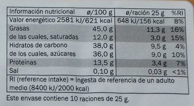 Turrón de Chocolate Crujiente Negro - Información nutricional