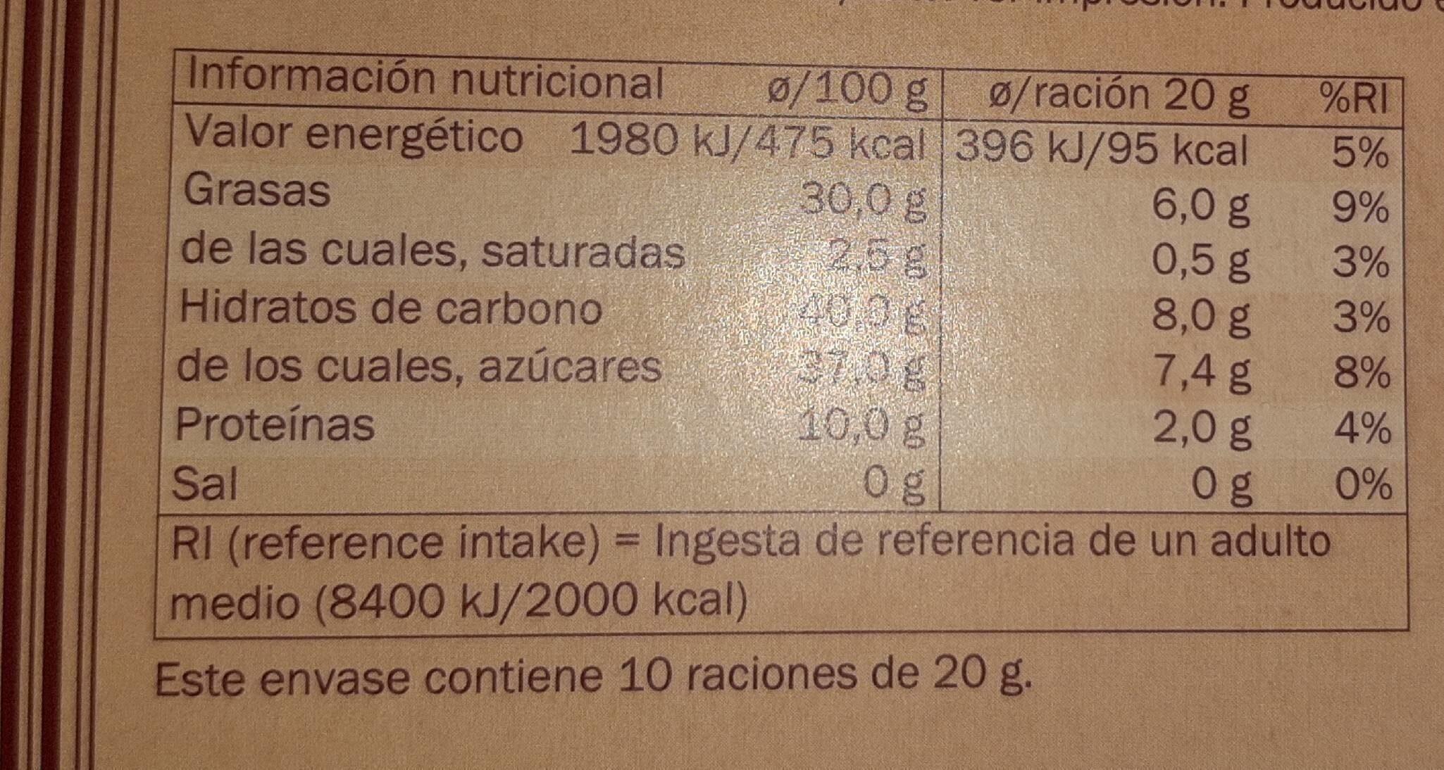 DOR turrón - Información nutricional