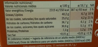 J.D. Gross. Petit Chocolat - Información nutricional - es