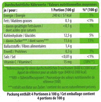Bio-Früchtemus Apfel - Nährwertangaben