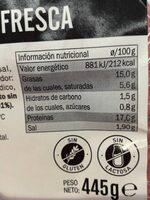 Butifarra fresca de cerdo - Informació nutricional