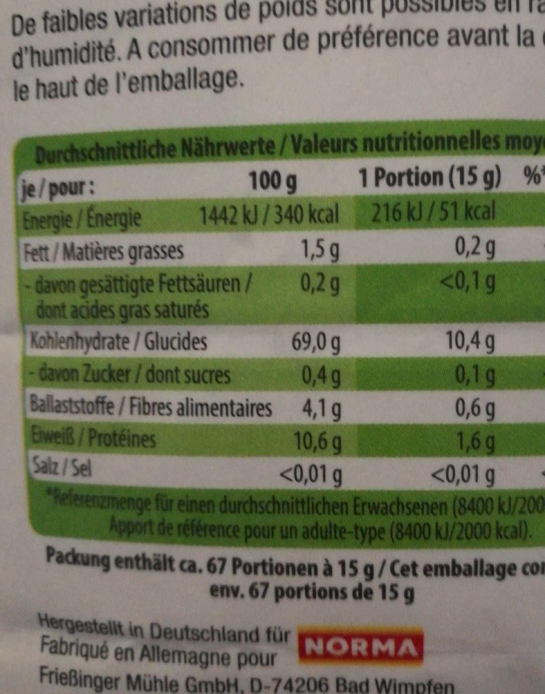 Farine de blé Bio Sonne type 65 - Informations nutritionnelles