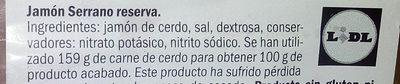 Jamon serrano reserva - Ingredientes - es