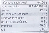 Jamon serrano reserva - Informació nutricional