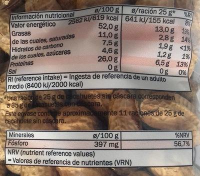 Cacahuete tostado sin sal - Informació nutricional