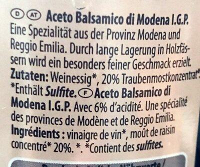 Aceto Balsamico di Modena I.G.P - Ingredients