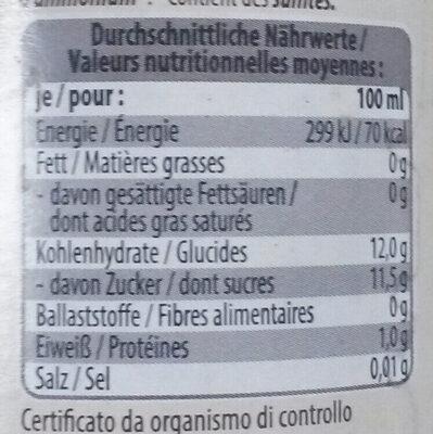 Aceto Balsamico di Modena I.G.P - Nutrition facts